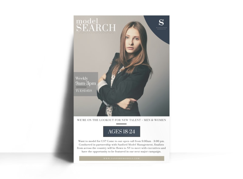 Fashion Model Search Poster Template Preview 3