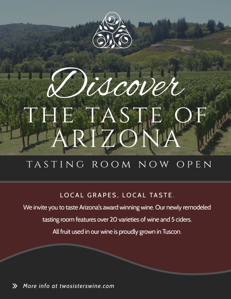 Arizona Wine Tasting Flyer Template Preview 2