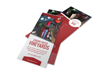 Cherry Fields Wine List Flyer Template preview