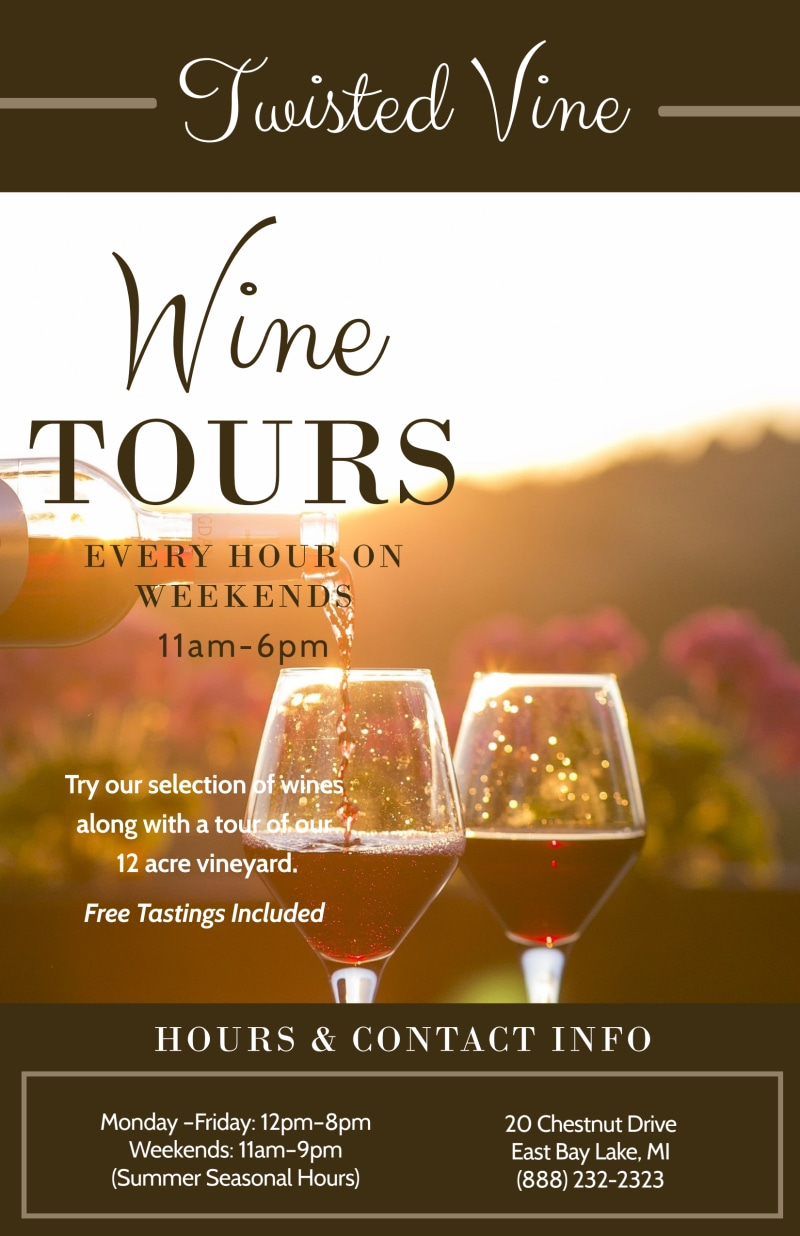 Twisted Vine Wine Tour Poster Template Preview 2