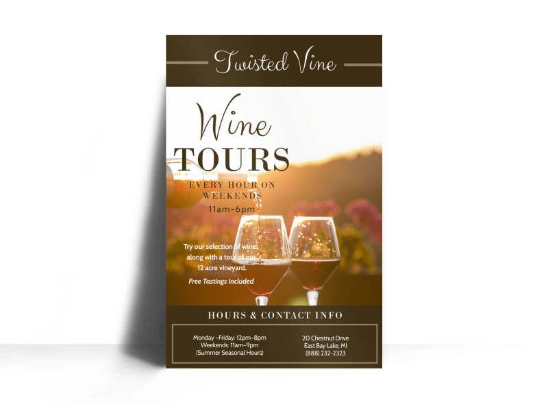 Twisted Vine Wine Tour Poster Template Preview 1