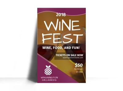 Washington Wine Festival Poster Template preview