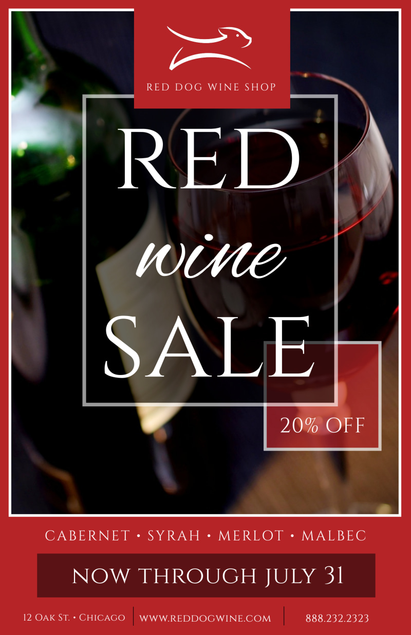 Red Wine Sale Poster Template Preview 2