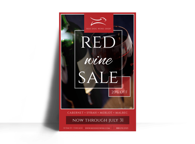 Red Wine Sale Poster Template Preview 1