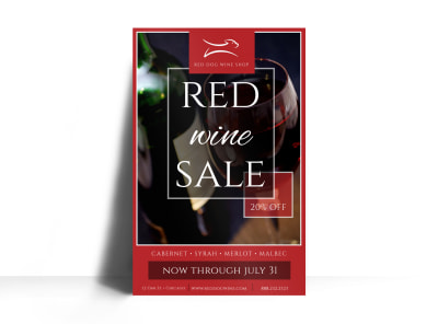 Red Wine Sale Poster Template preview