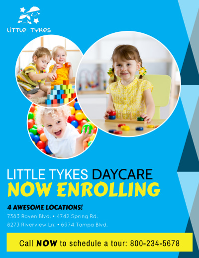 Daycare Now Enrolling Flyer Template Preview 1