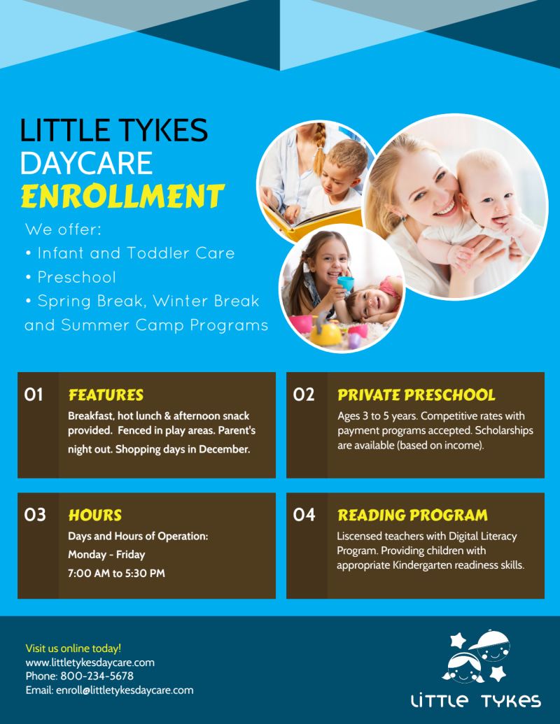 Daycare Now Enrolling Flyer Template Preview 3