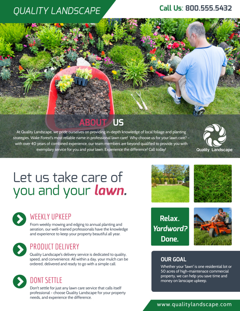 Landscaping  About Us Flyer Template Preview 2