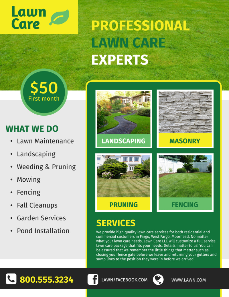 Professional Lawn Care Commercial Flyer Template Preview 2