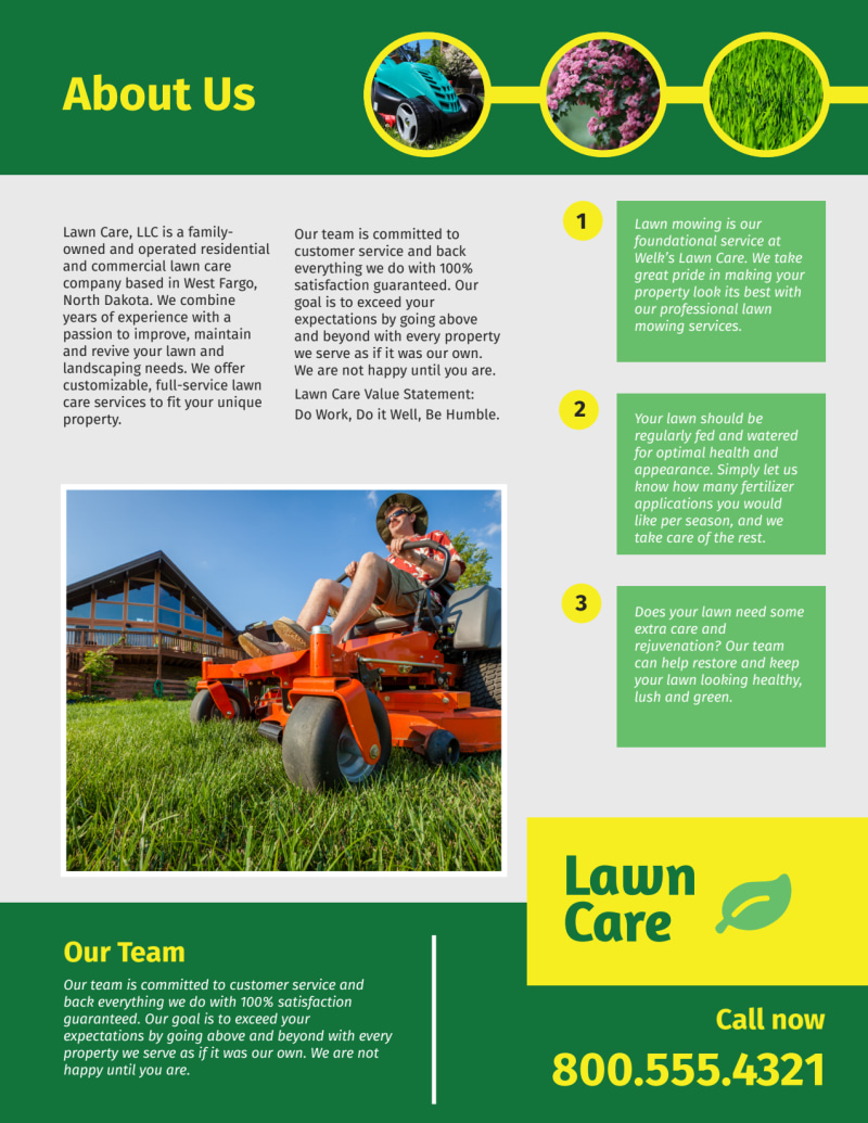 Professional Lawn Care Commercial Flyer Template Preview 3