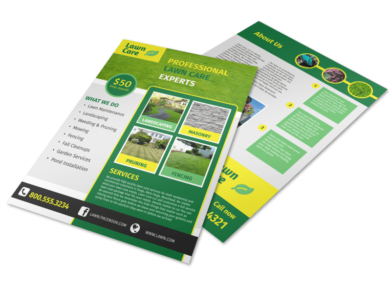 Professional Lawn Care Commercial Flyer Template Preview 1