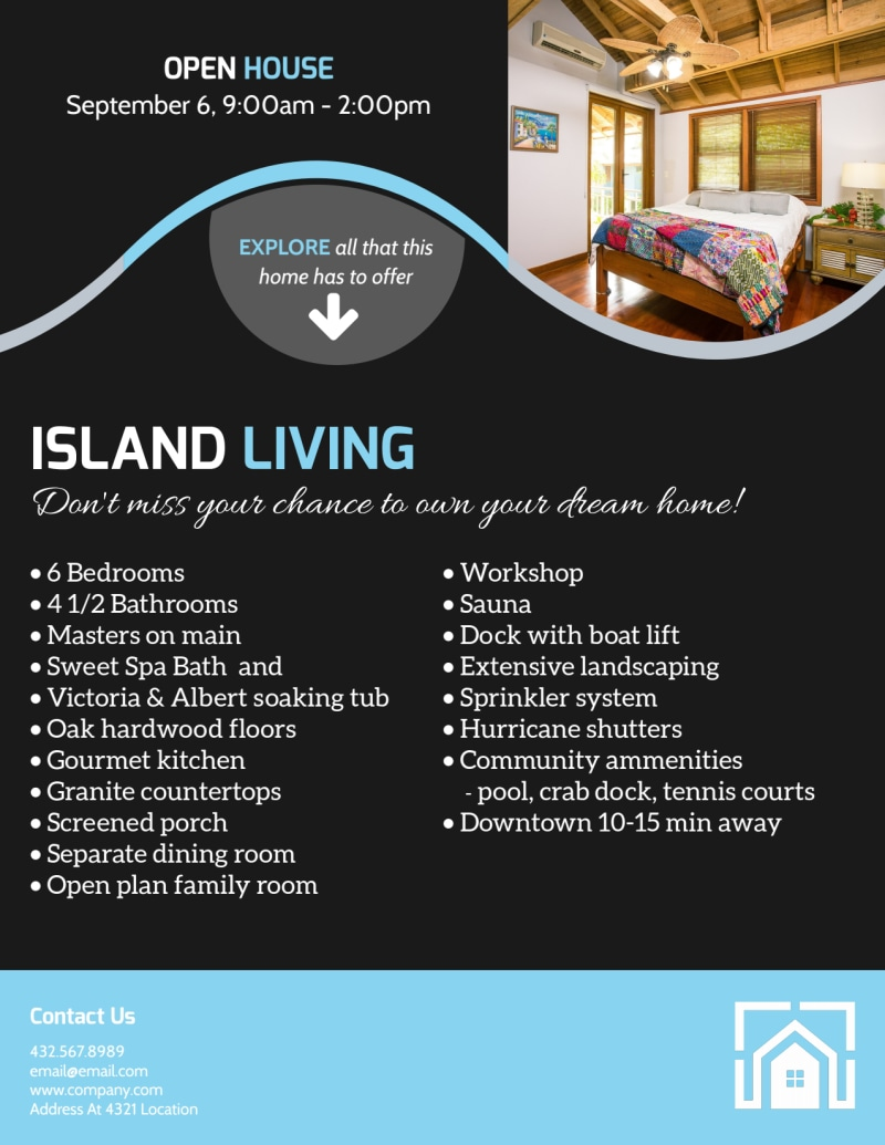 Island Living Open House Flyer Template Preview 3