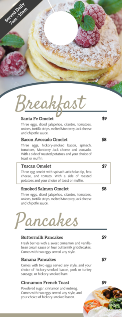 Hotel Breakfast Menu Door Hanger Template Preview 1