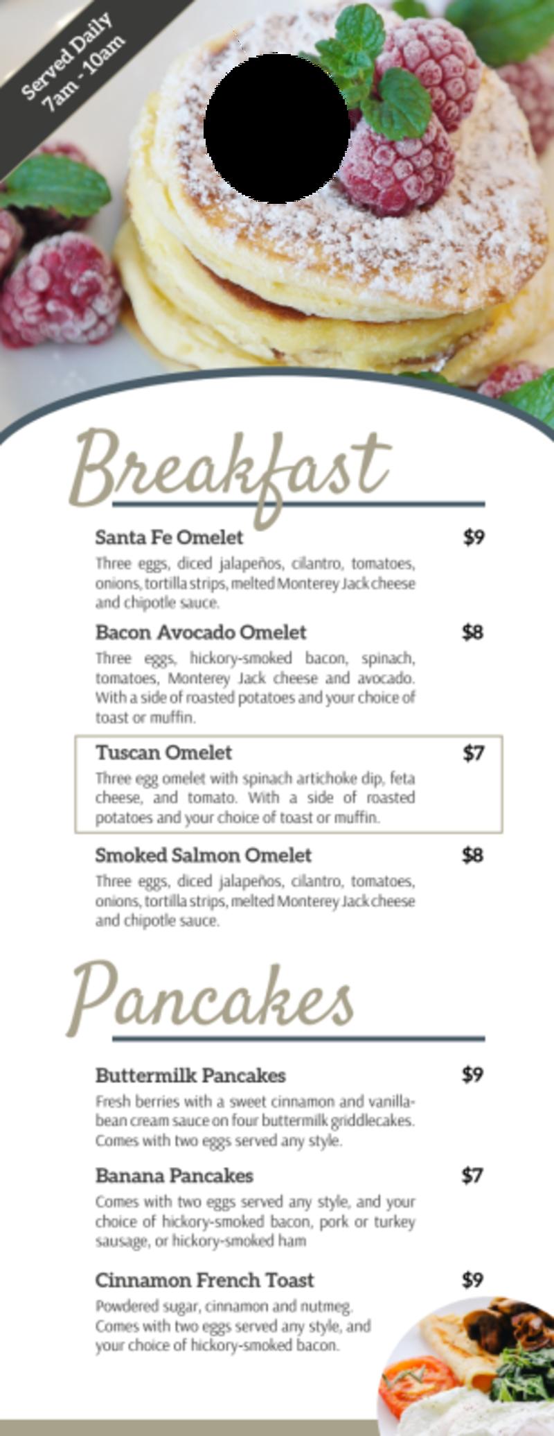 Hotel Breakfast Menu Door Hanger Template Preview 2