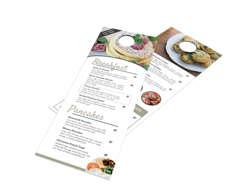 Hotel Breakfast Menu Door Hanger Template  Mycreativeshop