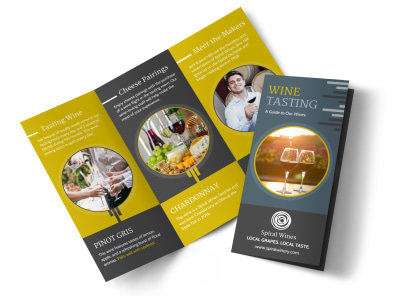 Wine Tasting Tri-Fold Brochure Template preview