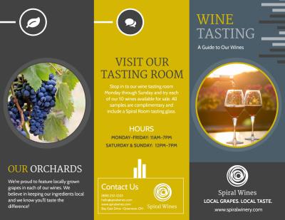 Wine Tasting Tri-Fold Brochure Template Preview 1
