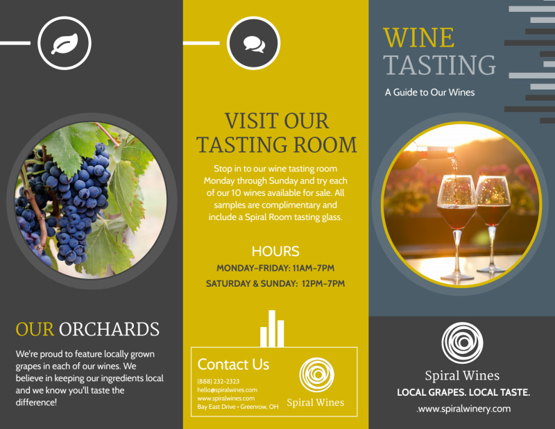 Wine Tasting Tri-Fold Brochure Template Preview 2