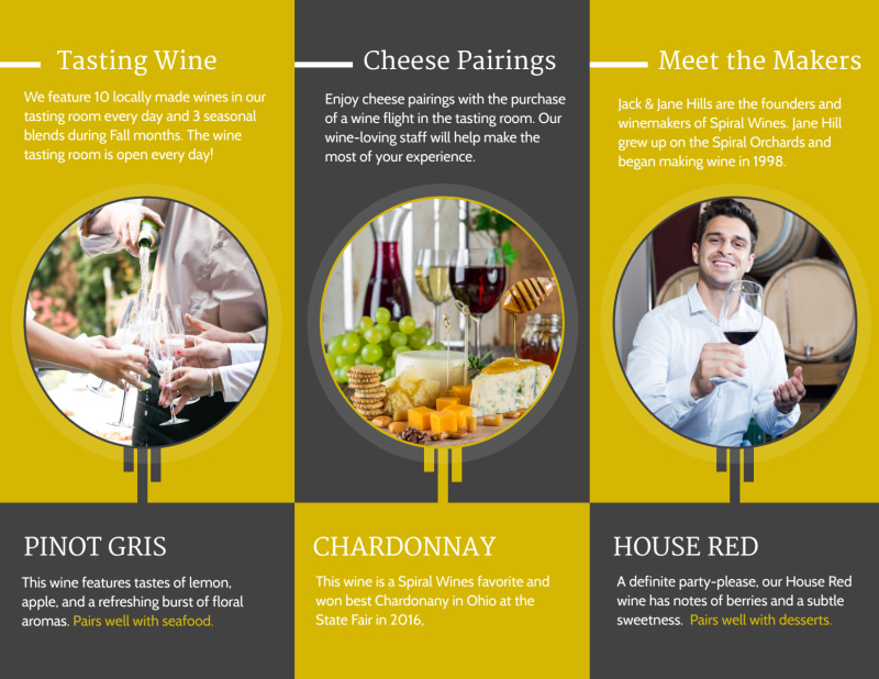 Wine Tasting Tri-Fold Brochure Template Preview 3