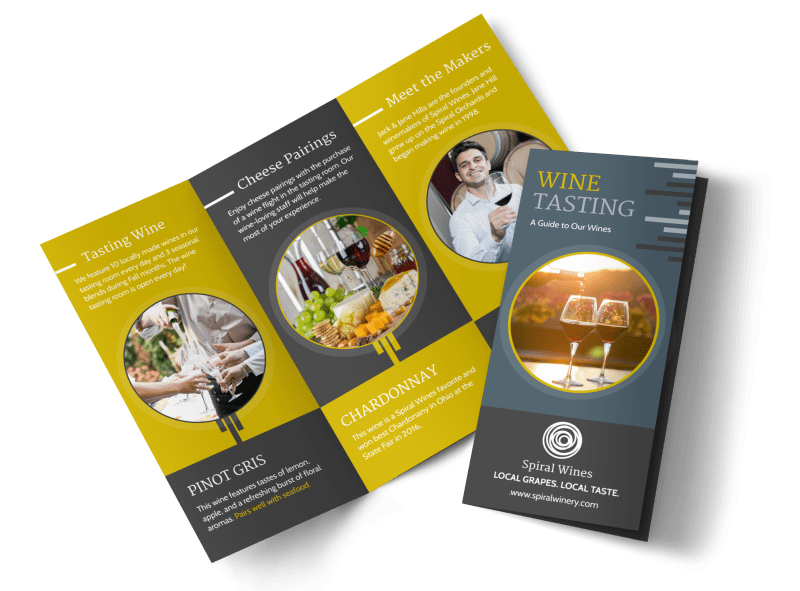 Wine Tasting Tri-Fold Brochure Template Preview 1