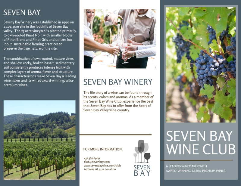 Seven Bay Wine Club Tri-Fold Brochure Template Preview 2