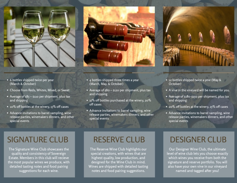 Seven Bay Wine Club Tri-Fold Brochure Template Preview 3