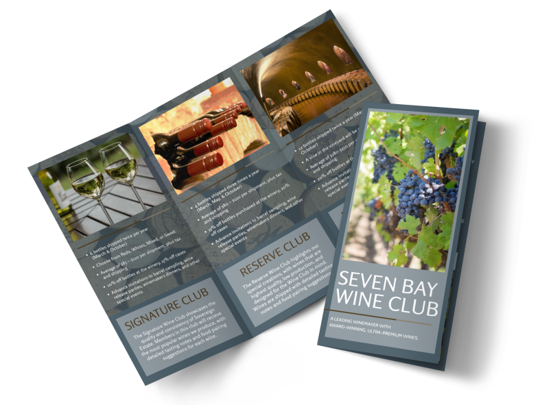 Seven Bay Wine Club Tri-Fold Brochure Template Preview 1
