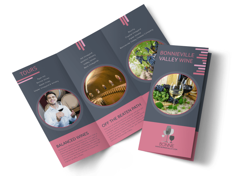 Valley Wine Tour Tri-Fold Brochure Template Preview 1
