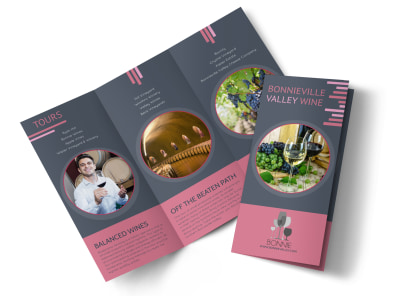 Valley Wine Tour Tri-Fold Brochure Template preview