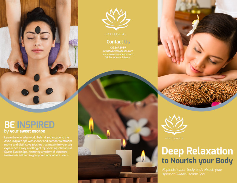 Deep Relaxation Spa Tri-Fold Brochure Template Preview 2