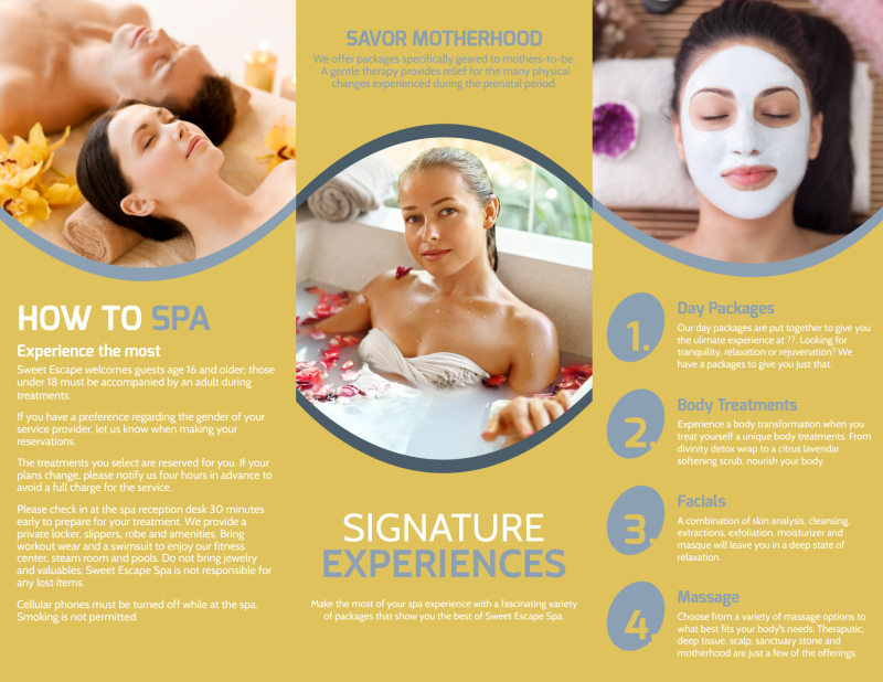 Deep Relaxation Spa Tri-Fold Brochure Template Preview 3
