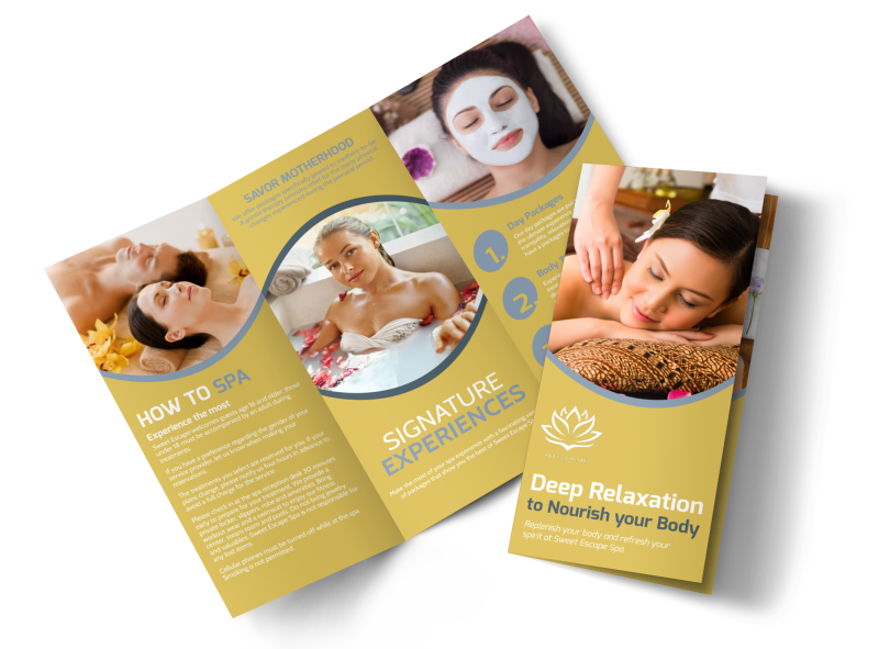 Deep Relaxation Spa Tri-Fold Brochure Template Preview 1