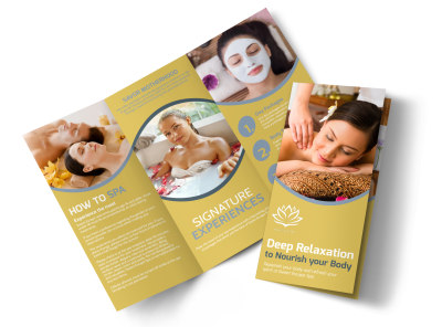 Deep Relaxation Spa Tri-Fold Brochure Template preview