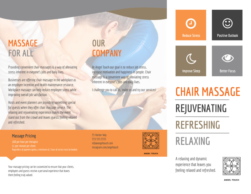 Chair Massage Tri-Fold Brochure Template Preview 2