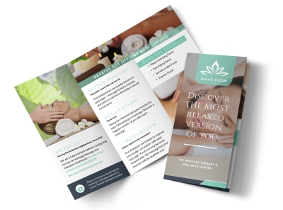 Relax Massage Therapy Tri-Fold Brochure Template preview