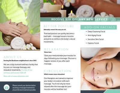 Relax Massage Therapy Tri-Fold Brochure Template Preview 2
