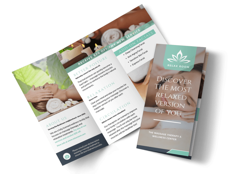 Relax Massage Therapy Tri-Fold Brochure Template Preview 1