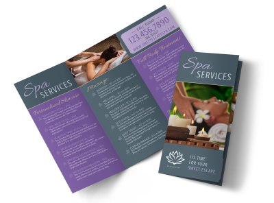 Massage Spa Services Offered Tri-Fold Brochure Template preview