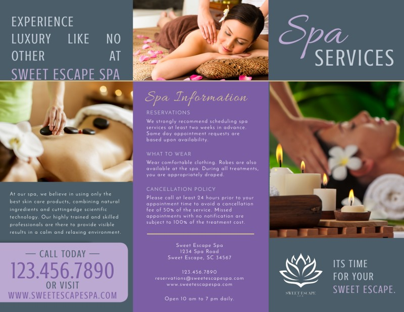 Massage Spa Services Offered Tri-Fold Brochure Template Preview 2