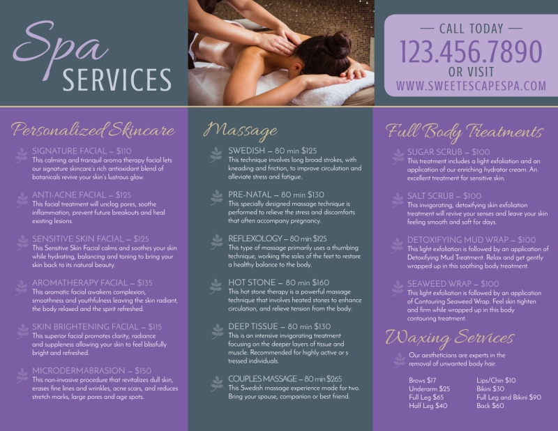 Massage Spa Services Offered Tri-Fold Brochure Template Preview 3