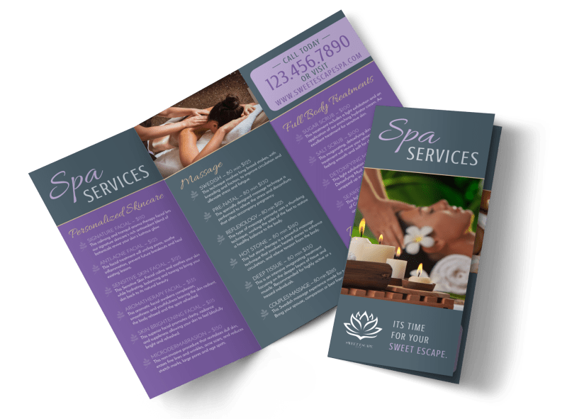 Massage Spa Services Offered Tri-Fold Brochure Template Preview 1