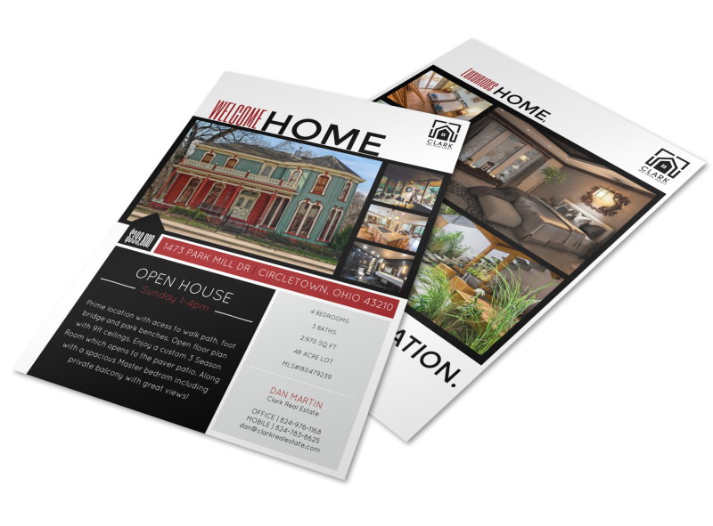 Welcome home open house flyer template mycreativeshop for Open house brochure template