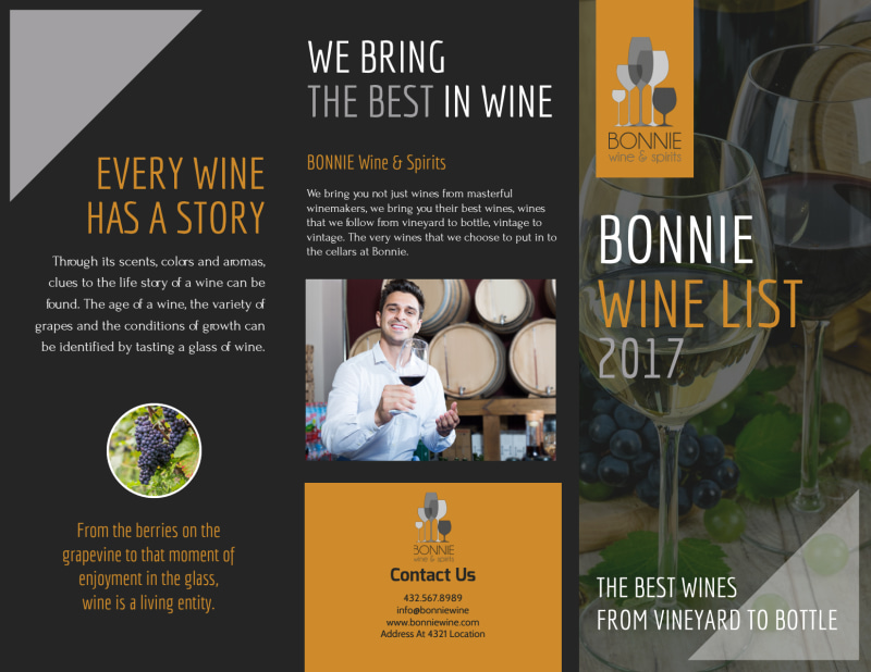 Bonnie Wine List Tri-Fold Brochure Template Preview 2