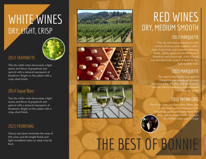 Bonnie Wine List Tri-Fold Brochure Template Preview 3