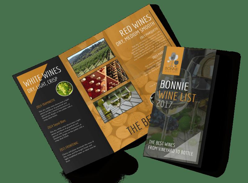 Bonnie Wine List Tri-Fold Brochure Template Preview 1
