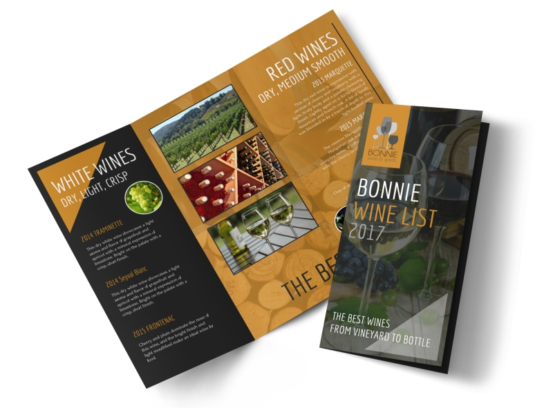 Bonnie Wine List Tri-Fold Brochure Template