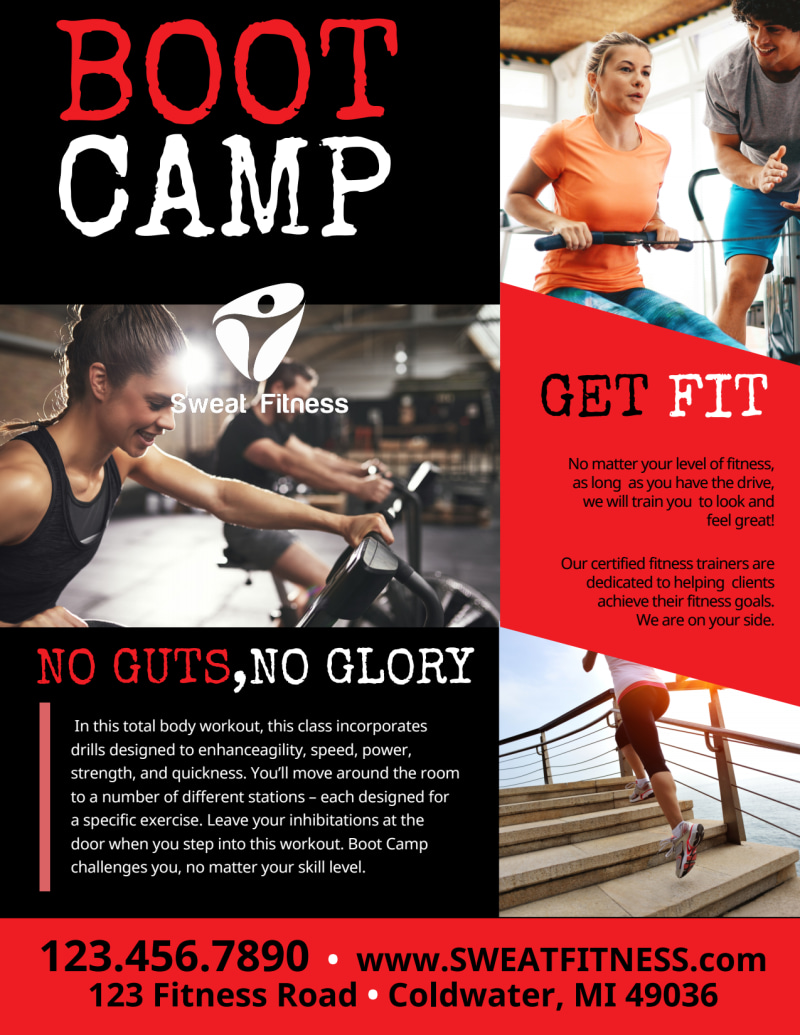 Boot Camp Fitness Promo Flyer Template Preview 3