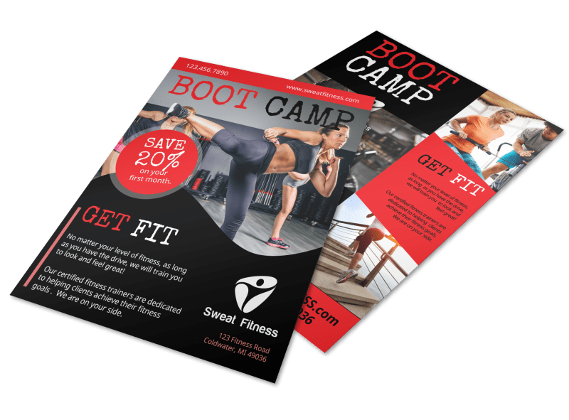 Boot Camp Fitness Promo Flyer Template Preview 1