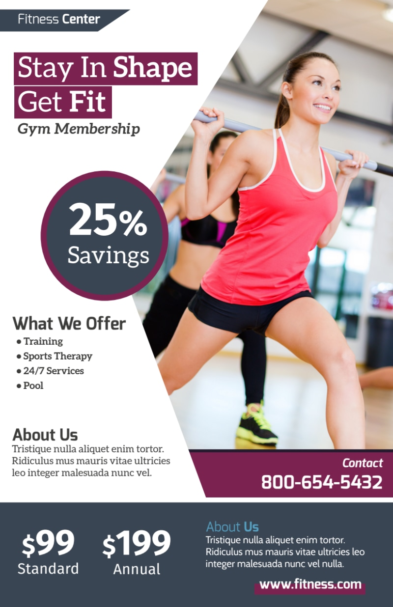 Fitness Membership Details Flyer Template Preview 2