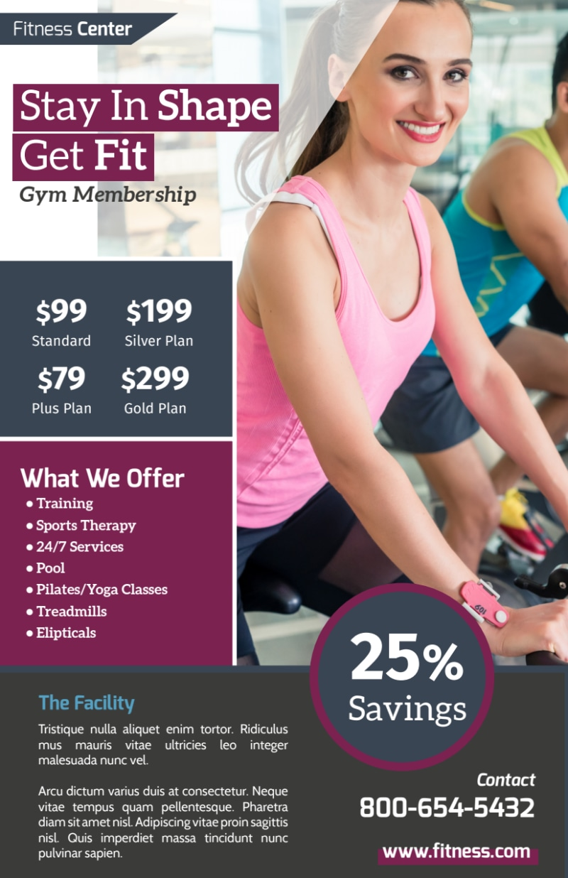 Fitness Membership Details Flyer Template Preview 3